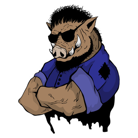 Isolated vector illustration a strong wild boar-man.