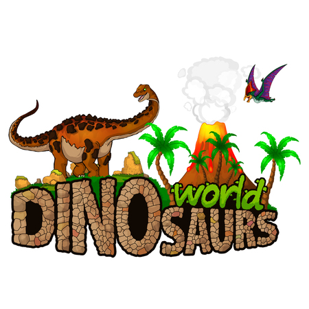 Logo Dinosaurs World. Vector illustration. Иллюстрация