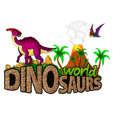 Logo Dinosaurs World. Vector illustration. Stock Illustratie