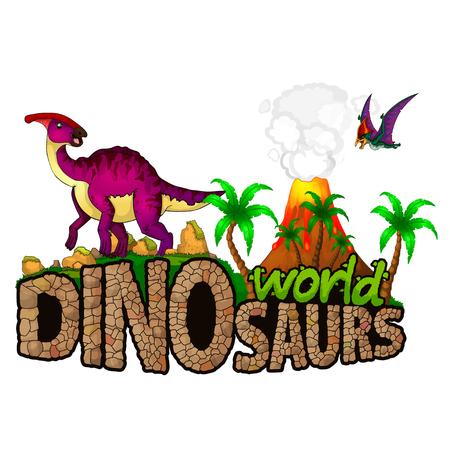 Logo Dinosaurs World. Vector illustration. Иллюстрация