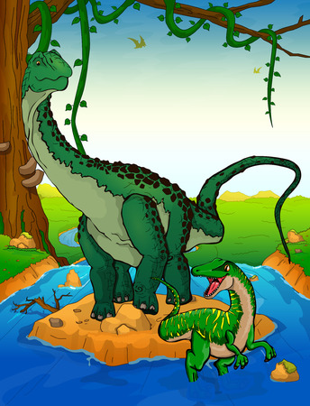 Diplodocus on the background of a waterfall. Illustration
