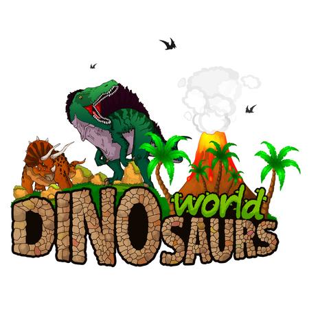 Dinosaurs World. Vector illustration.