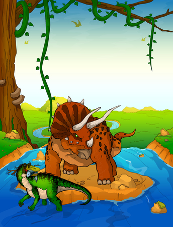 Triceratops on the background of a waterfall.