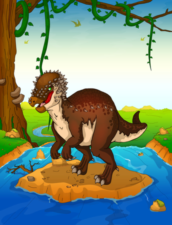 Pachycephalosaurus on the background of a waterfall. Illustration