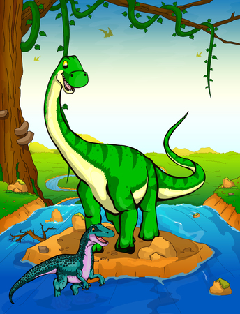 Diplodocus on the background of a waterfall.  イラスト・ベクター素材