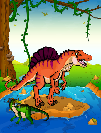 Spinosaurus on the background of a waterfall. Illustration