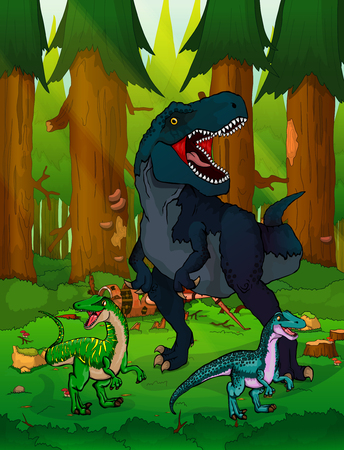 Tyrannosaur on the background of forest