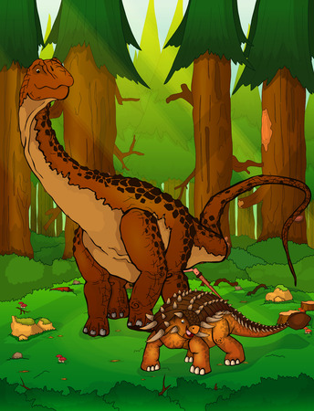 Diplodocus and ankylosaurus on the background of forest  イラスト・ベクター素材