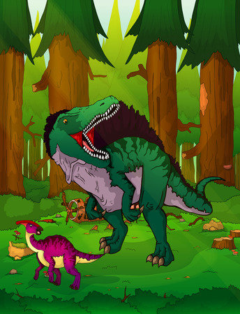 Spinosaurus on the background of forest. 일러스트