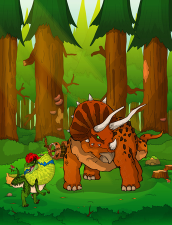 Triceratops on the background of forest