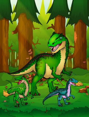 Allosaurus on the background of a forest. Illustration