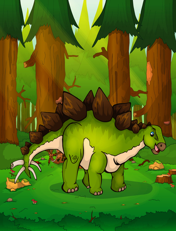 Stegosaurus on a forest. Vettoriali