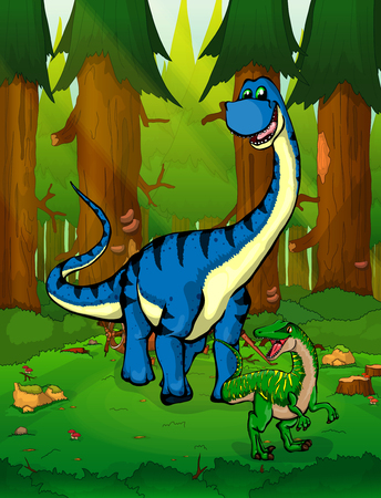 Diplodocus on the background of a forest. Illustration