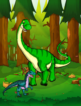 Diplodocus on the background of a forest.  イラスト・ベクター素材