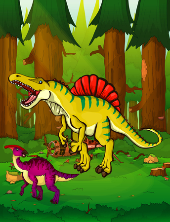 Spinosaurus on a forest.