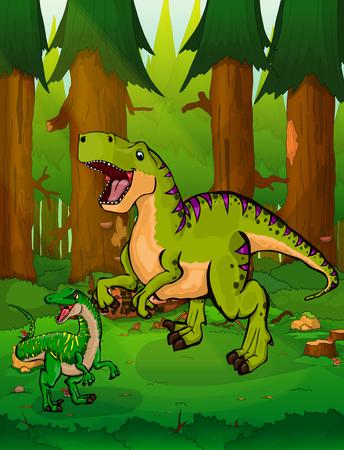 Tyrannosaurus on a forest.
