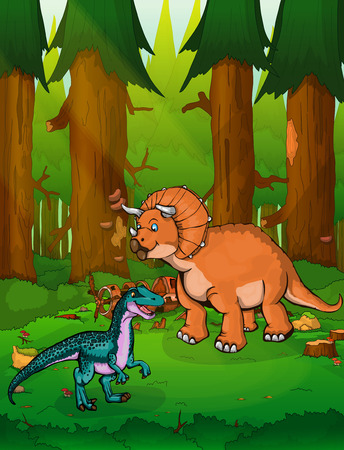 Triceratops on the background of a forest.