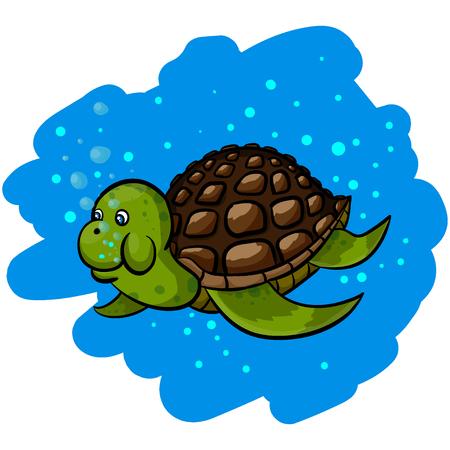 Isolated illustration of a cartoon sea turtle