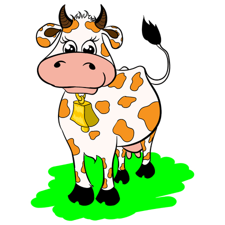 Isolated illustration of a cartoon cow