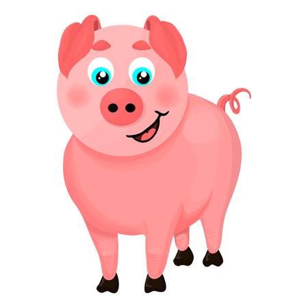 Isolated illustration of a cartoon pig Illusztráció