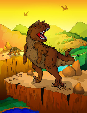 Carnotaur with landscape background. Vector illustration of a cartoon dinosaurs.