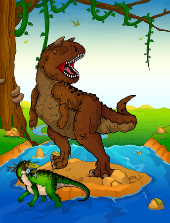 Carnotaur on the background of a waterfall. Vectores