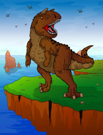 Carnotaur on the background of the sea. Vector illustration.