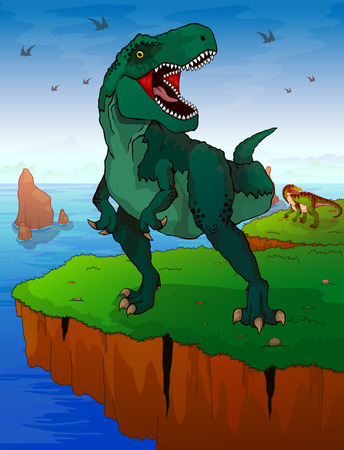 Tyrannosaur on the background of the sea. Vector illustration.