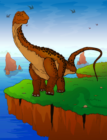 Diplodocus on the background of the sea. Vector illustration.