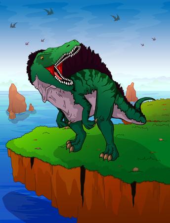 Spinosauruson the background of the sea. Vector illustration.