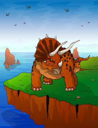 Triceratops the background of the sea. Vector illustration. Çizim