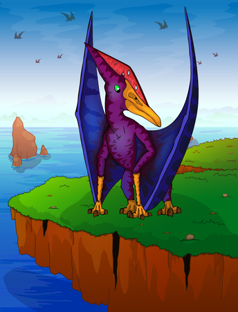 Pteranodon the background of the sea. Vector illustration.