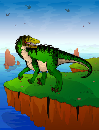 Baryonyx the background of the sea. Vector illustration.