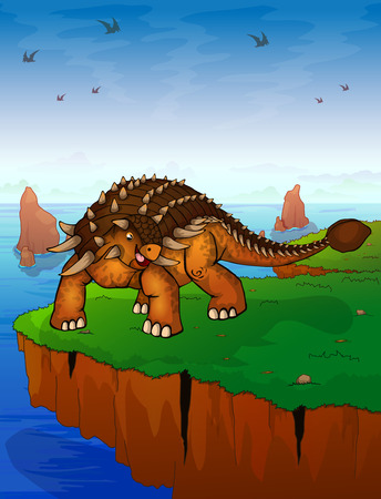 Ankylosaurus on the background of the sea. Vector illustration.