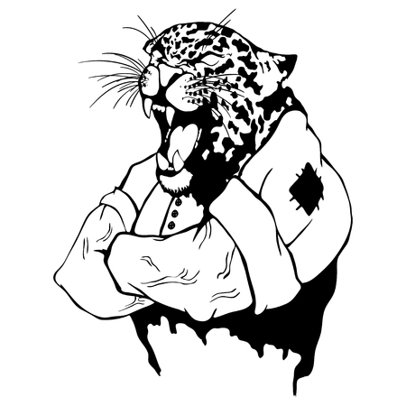 Isolated vector illustration a strong wild leopard-man. Vettoriali