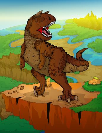 Carnotaur on the landscape background. Vector illustration of a cartoon dinosaur Vectores