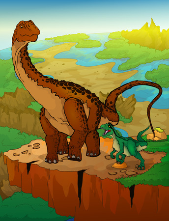 Diplodocus and raptor with landscape background. Vector illustration. Çizim