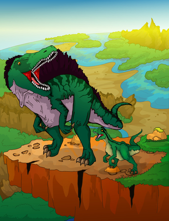 Spinosaurus and raptor with landscape background. Vector illustration.
