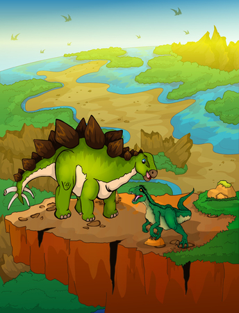 Stegosaurus and raptor with a landscape background. Vector illustration.