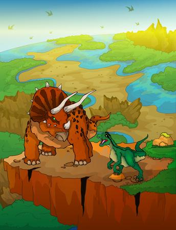 Triceratops and raptor with landscape background. Vector illustration.