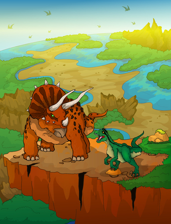 Triceratops and raptor with landscape background. Vector illustration.