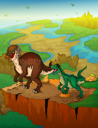 Pachycephalosaurus and raptor with landscape background. Vector illustration.