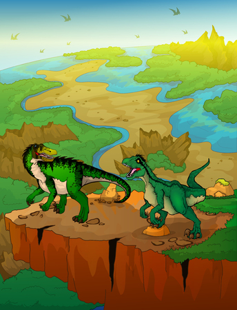 Baryonyx and raptor with landscape background. Vector illustration.