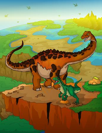 Diplodocus and raptor with landscape background. Vector illustration. Çizim