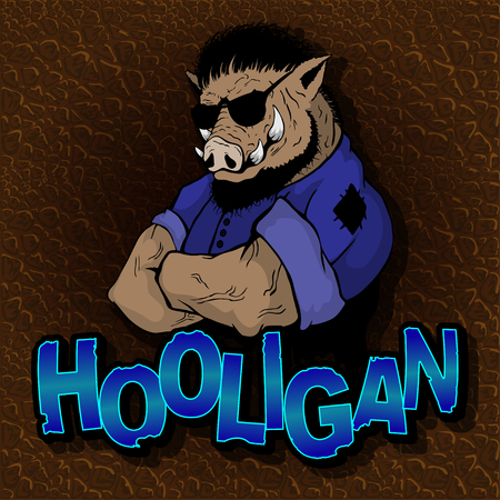 Boar - hooligan on the texture of the skin. Illustration