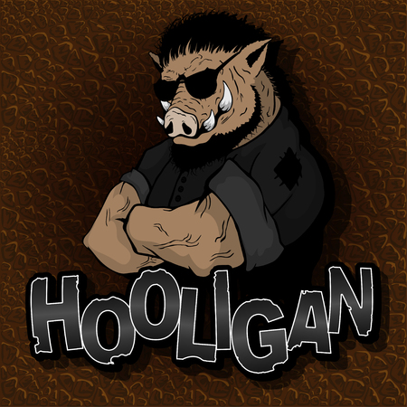 Boar - hooligan on the texture of the skin. Stock Illustratie