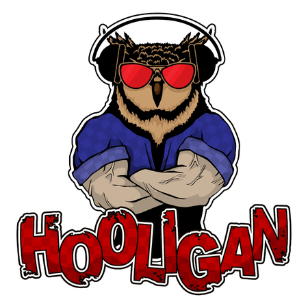 Print on T-shirt hooligan with a owl image.