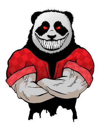 Illustration vectorielle isolé un panda-homme sauvage maléfique fort. Vecteurs