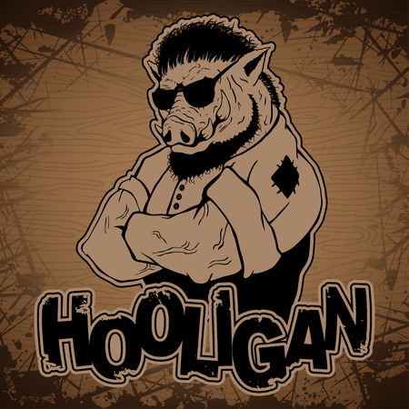 hooligan-boar image on a wooden background.