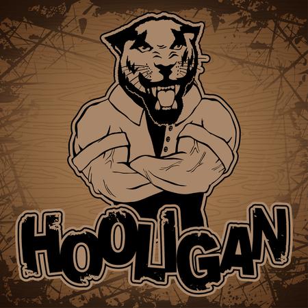 Hooligan-pantera image on a wooden background.